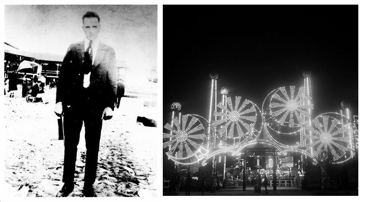 Young Al Capone at Coney Island and Coney Island today. Photo of Al via the My Al Capone Museum