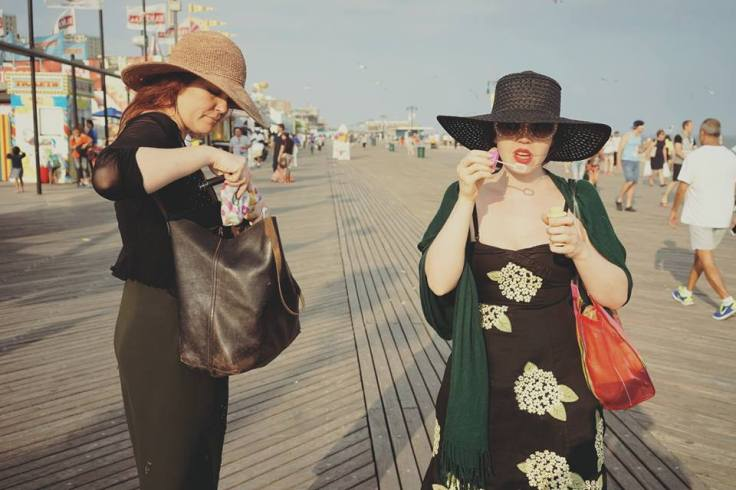 Vanessa Sinclair and Katelan Foisy on the boardwalk in Coney Island. Photo by Carl Abrahamsson