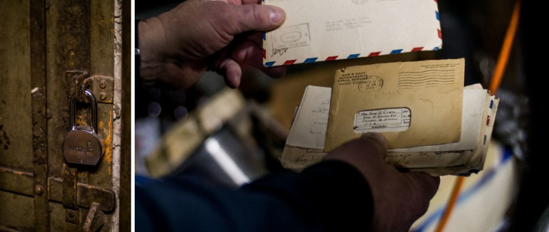 The lock to the tunnels underneath the Green Mill. Dave shows us letters he found in the basement. Photos by Eleanor Saitta